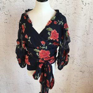 LOVERS AND FRIENDS BLUE FLORAL WRAP  BLOUSE L